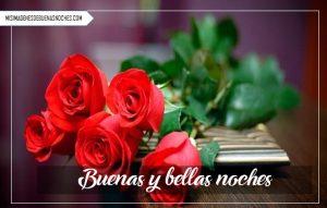 Imágenes de buenas noches con rosas rojas